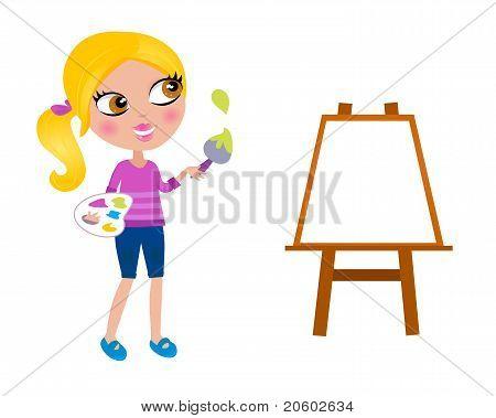Cartoon Happy Little Painter Girl With Paint Brush.