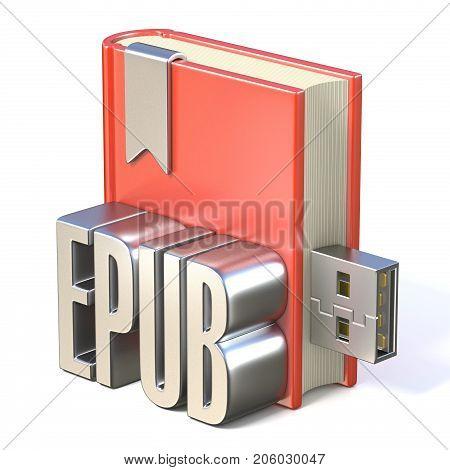 Ebook Icon Metal Epub Red Book Usb 3D