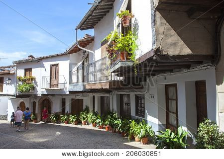 Guadalupe Spain - September 3th 2017: Guadalupe old town porticoed houses. Caceres Extremadura Spain