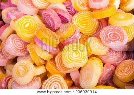 Close up Delicious Spiral Gelatin Sweets. Top view
