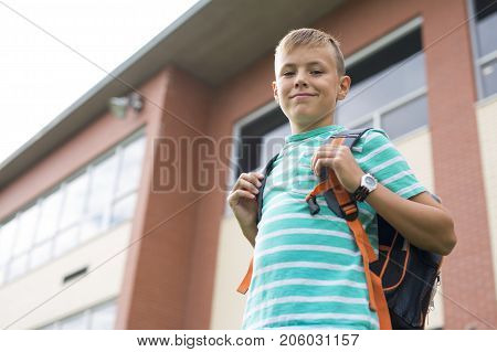 A nice Pre teen boy outside at school