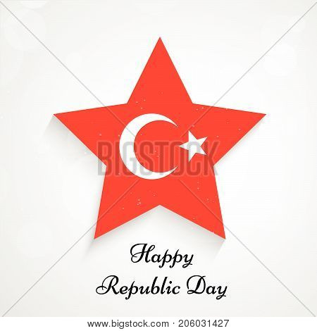 illustration of star in Turkey flag background with Happy Republic Day text on the occasion of Republic Day of Turkey