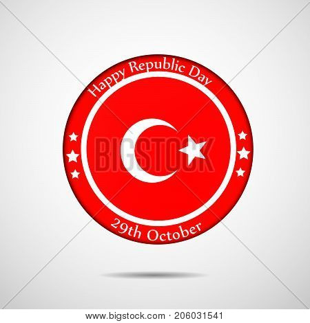 illustration of stamp in Turkey flag background with Happy Republic Day 29th October text on the occasion of Republic Day of Turkey