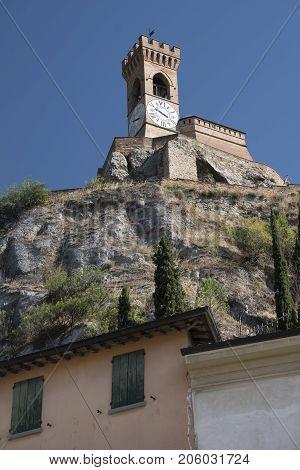 Brisighella (Ravenna Emilia Romagna Italy): historic buildings in the Guglielmo Marconi square: tower