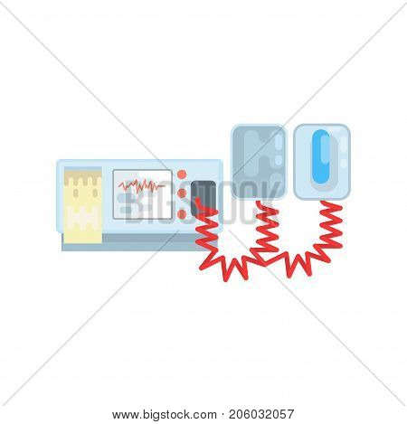 Automated external defibrillator, AED medical equipment vector Illustration isolated on a white background