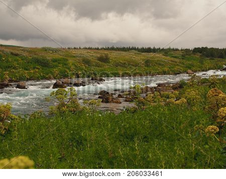 Turbulent flow in river in Thingvellir National Park in Iceland