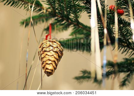 straw christmas decoration in the shape of a cone