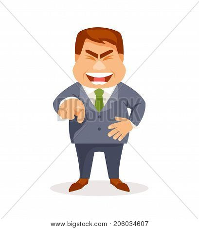 Funny man laughs and points with his finger. Vector humorous illustration