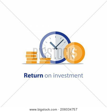 Financial period, annual payment, income growth, finance productivity, return on investment, budget planning, expenses concept, accounting report, statistic and analytics, vector flat icon