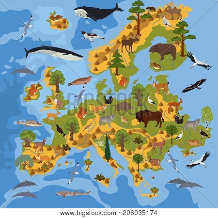 Flat European Flora And Fauna Map Constructor Elements. Animals, Birds And Sea Life Isolated On Whit