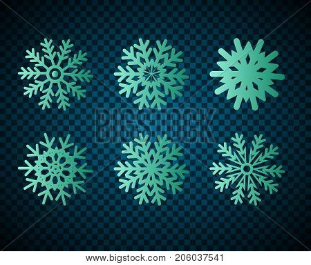 Set of hand drawn snowflake icons against a dark background.