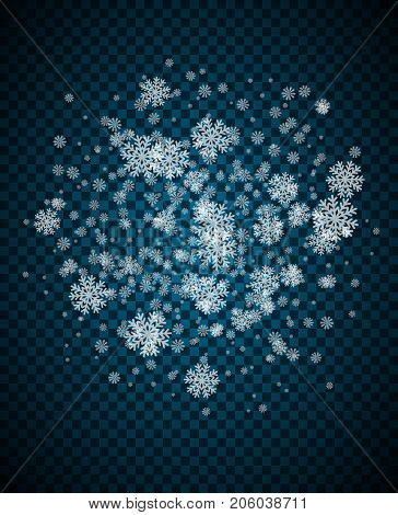 Snowflake vector. Falling Christmas snow fall. Snowflakes decoration effect. Transparent snow flake pattern
