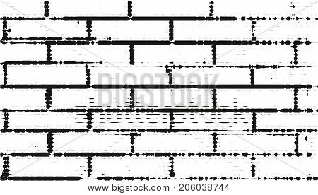 Black-and-White Brick wall background. Abstract Vector illustration.