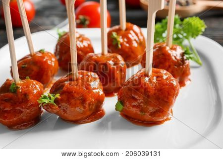 Plate with delicious meatballs, closeup