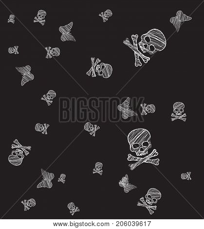 Vector Background. Skulls With Bones And Butterflies On A Black