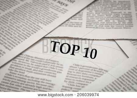 top 10 headline or topic on newspaper background