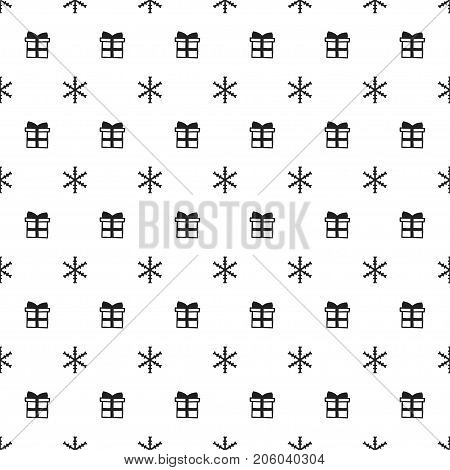 Christmas New Year seamless pattern with snowflakes gift present. Holiday background. Xmas winter trendy decoration. Festive texture. Hand drawn vector illustration. Snow pattern. Wrapping gift paper