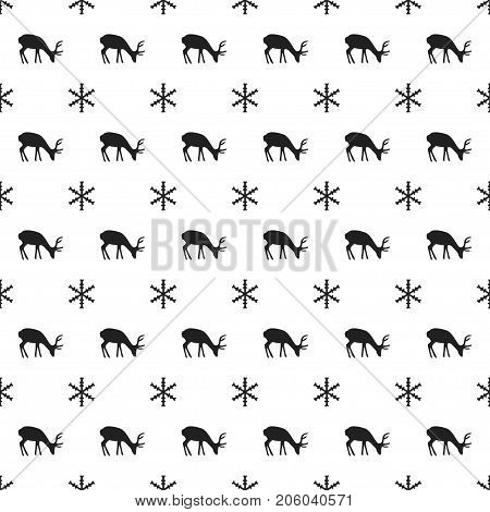 Christmas New Year seamless pattern with snowflakes, deer. Holiday background. Xmas winter trendy decoration. Festive texture. Hand drawn vector illustration. Snow pattern. Wrapping gift paper