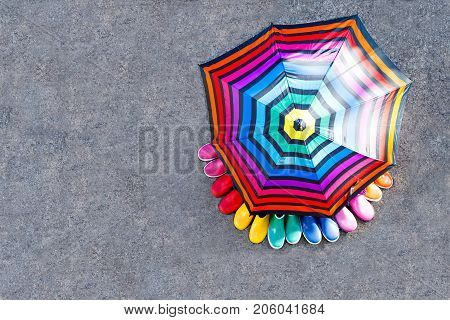 Little kids, boys and girls in colorful rain boots standing under umbrella. Close-up of children in different rubber boots from high angle. Footwear for rainy fall. Concept of bright fall