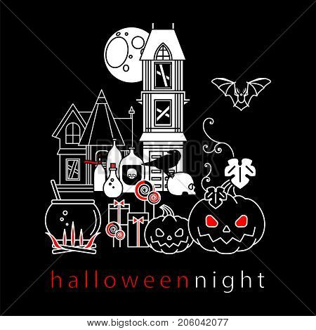 Halloween. Set of linear isolated icons. Pumpkin, gifts, candy, old house, bat, skull, magic potion, cauldron, moon, crow. Vector illustration.