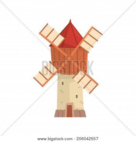 Traditional European windmill building cartoon vector Illustration isolated on a white background