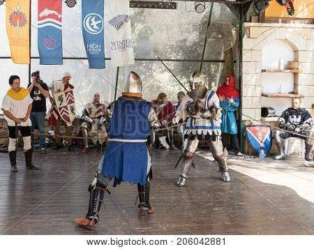 Jerusalem Israel September 23 2017 : The duel between the knights - participants of the festival