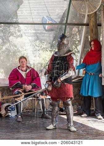 Jerusalem Israel September 23 2017 : Knight - participant in the festival