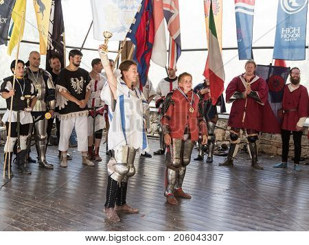 Jerusalem Israel September 23 2017 : Female Knights Pose at Awarding at the festival