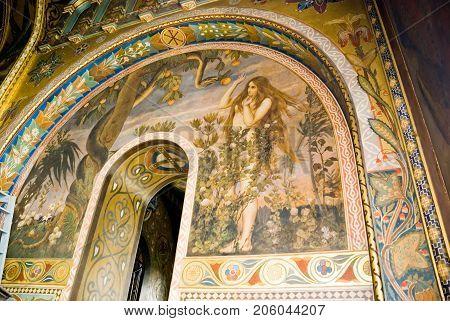 KIEV (KYIV) UKRAINE -June 16 2009:Interior painting of Vladimir Cathedral in Kiev.