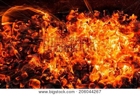 abstract background of burning coals . Photo of an abstract texture