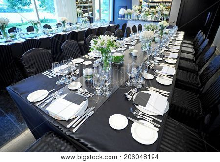 table setting for dining and foe wedding party