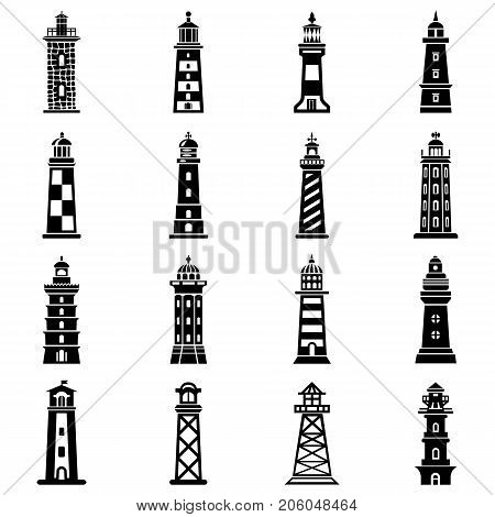 Lighthouse icons set. Simple illustration of 16 lighthouse vector icons for web