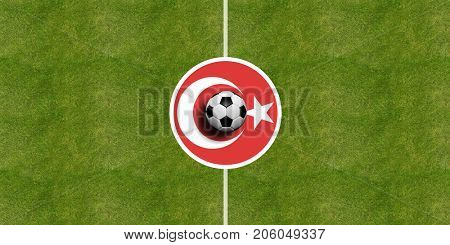 Turkey flag on a soccer field center, top view, 3d illustration