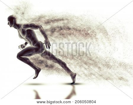 3D render of a male figure sprinting with speed effect
