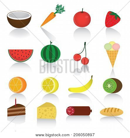 Different sweet ripe fruits and berries and another  food in one file:orange,strawberry, banana,kiwi,carrot,mandarin,lemon, cherry, cheese, bread,tomato,coco,water-melon,sausage,carrot.