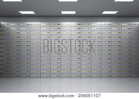 3d rendering safe deposit boxes inside bank vault