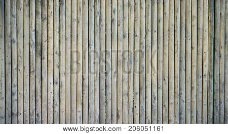 Unpainted gray wooden door consisting of old weathered unpainted boards