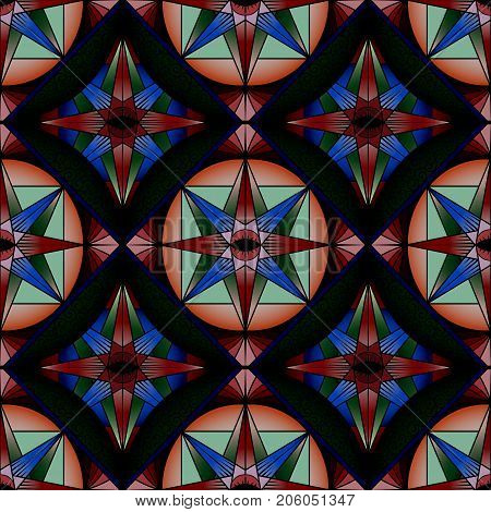 Colorful abstract seamless pattern decorative kaleidoscope stained glass style. Vector texture for wallpapers pattern fills fabric textile print web page backgrounds