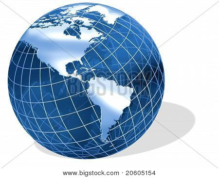 Globe Illustration on an angle with a casting shadow.
