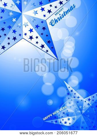 3D Illustration of Glowing Blue Festive Background with Stars and Decorative Text