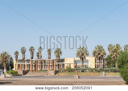 WALVIS BAY NAMIBIA - JULY 1 2017: The municipal building in Walvis Bay in the Namib Desert on the Atlantic Coast of Namibia