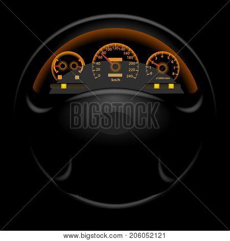 Car dashboard and steering wheel on black