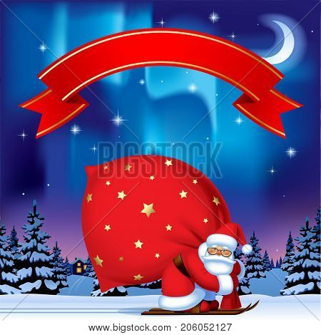 Santa Claus by ski carrying a big red sack and Red Ribbon against the night winter spruce forest under starry sky with northern lights. Christmas and New  Year greeting card