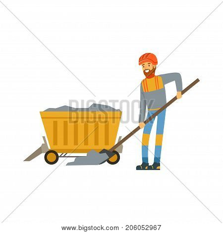 Male miner in uniform working in mine with wheelbarrow, professional miner at work, coal mining industry vector Illustration isolated on a white background