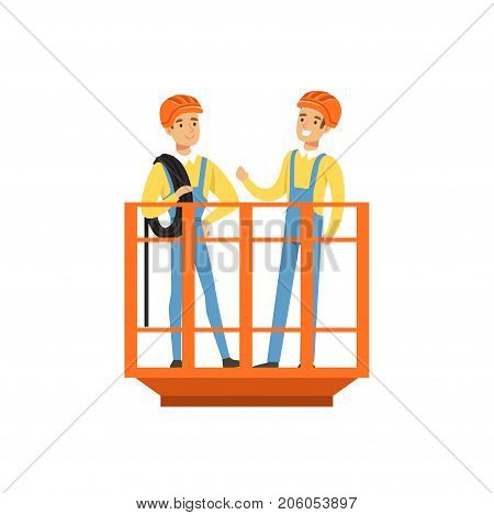 Male miners in uniform standing in mine lift, professional miners at work, coal mining industry vector Illustration isolated on a white background