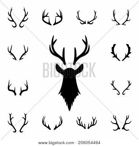 Deer s head and antlers set. Design elements of deer. Vector EPS8 illustration.