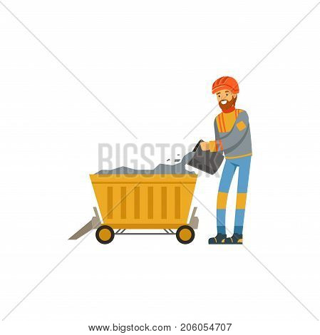 Male miner in uniform working in mine with trolley, professional miner at work, coal mining industry vector Illustration isolated on a white background