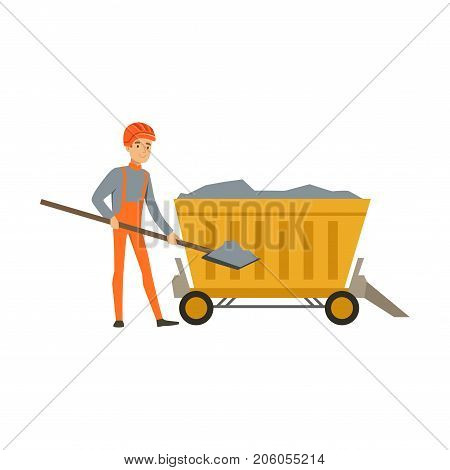Male miner working in mine with wheelbarrow and shovel, professional miner at work, coal mining industry vector Illustration isolated on a white background