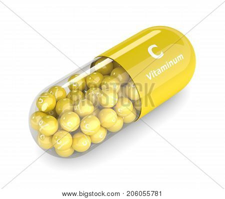 3D Render Of Vitamin C Pill With Granules