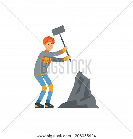 Male miner in uniform working at the coal mine with hammer, professional miner at work, coal mining industry vector Illustration isolated on a white background